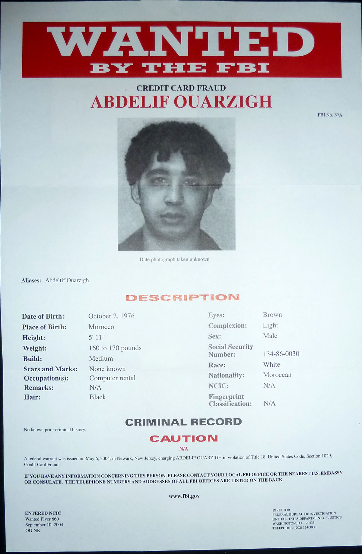 Image for FBI Wanted Poster - Abdelif Ouarzigh - Wanted for Credit Card Fraud