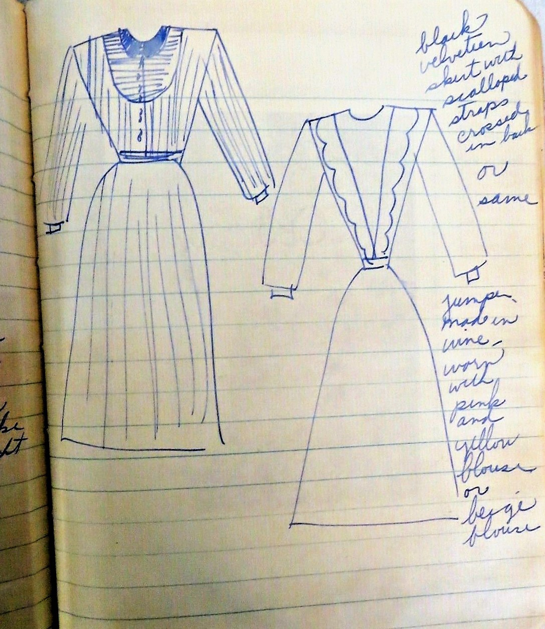 Image for 1940s- 50s  Fabric Swatches & Dress Drawings