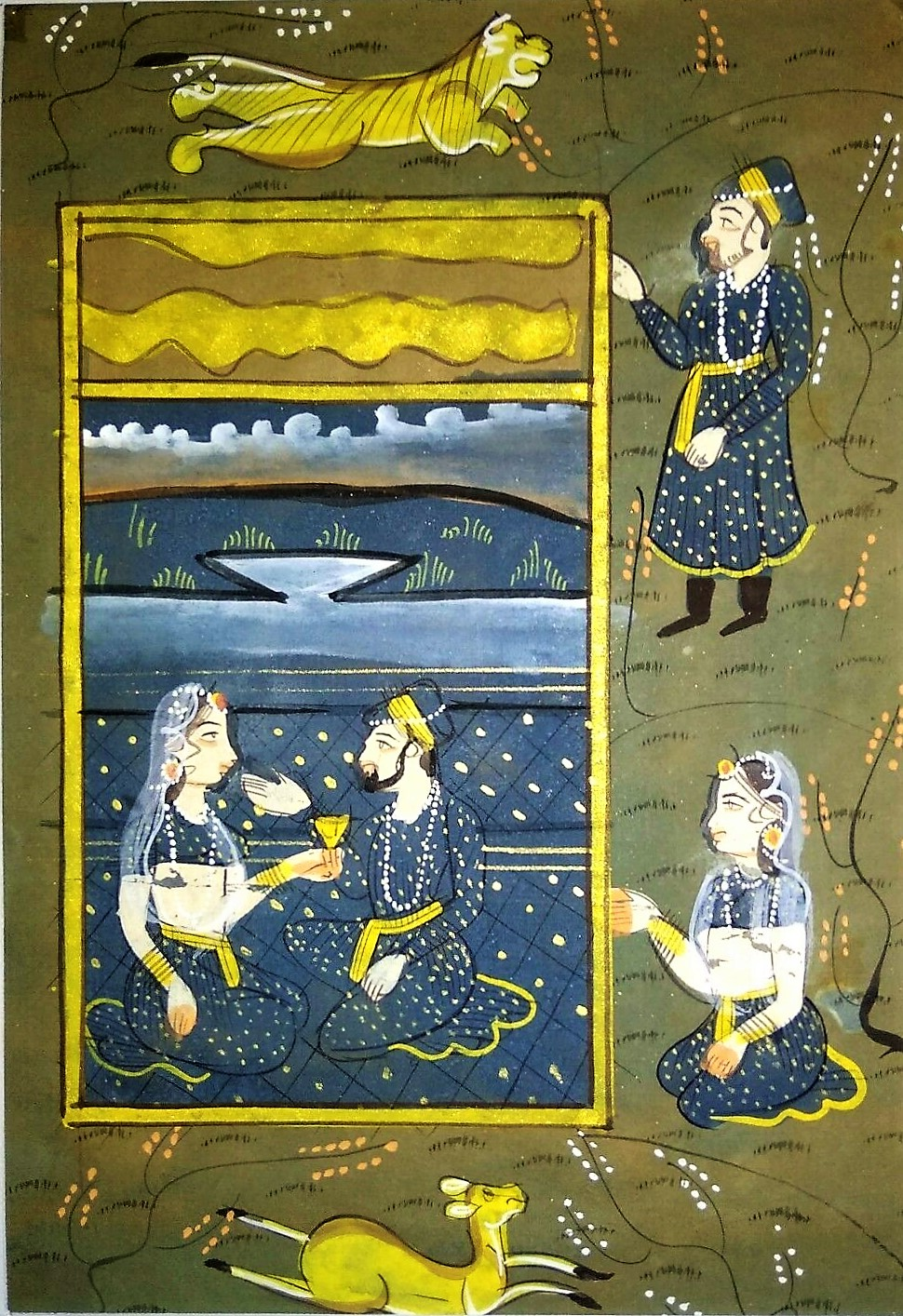 Image for Mughal Harem Miniature with Border Watercolor