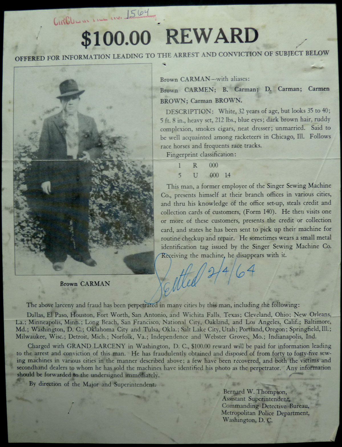 Image for Original Wanted Notice - 1941 Larceny and Fraud