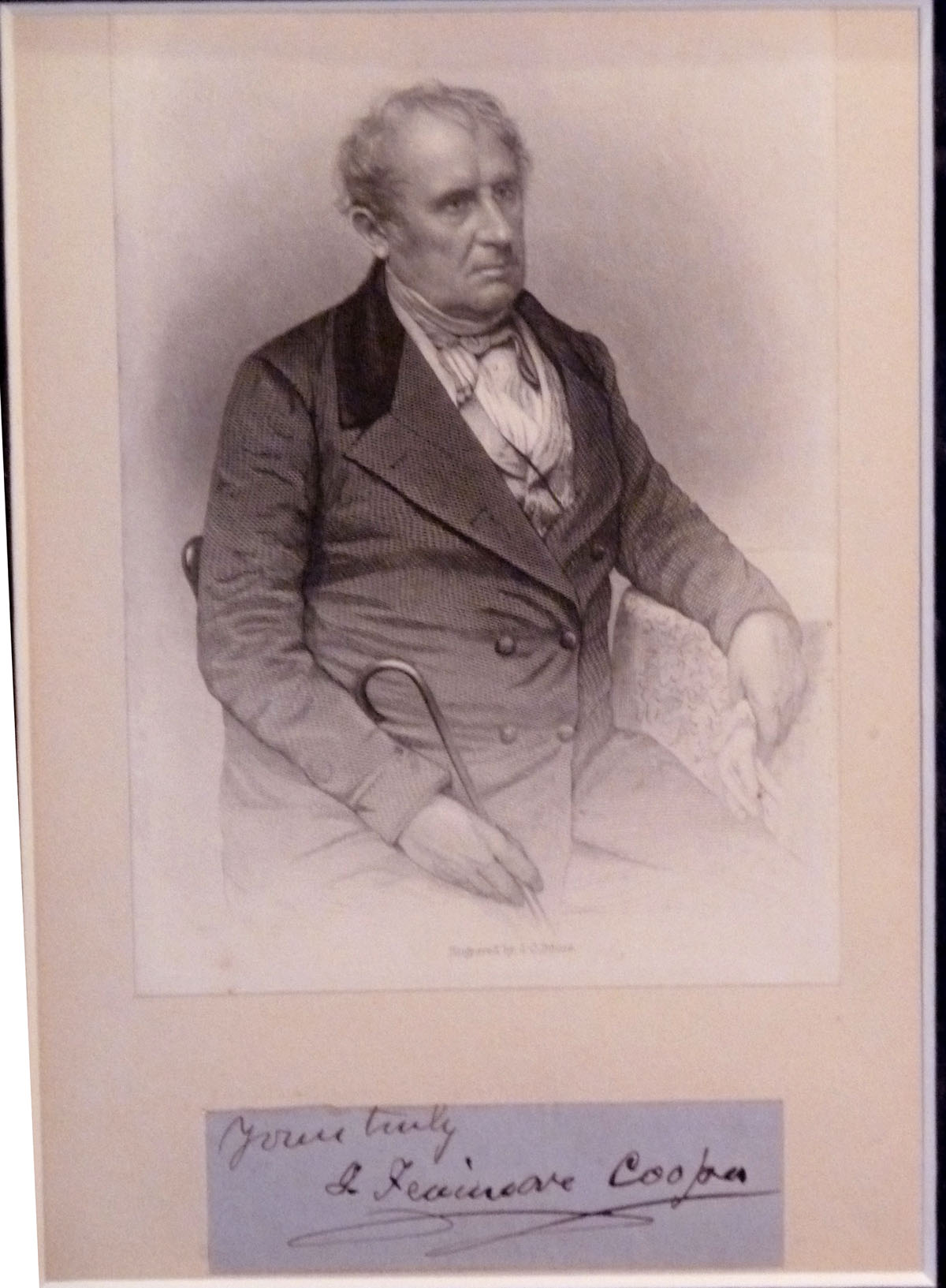 Image for James Fenimore Cooper Framed Autograph and Engraving