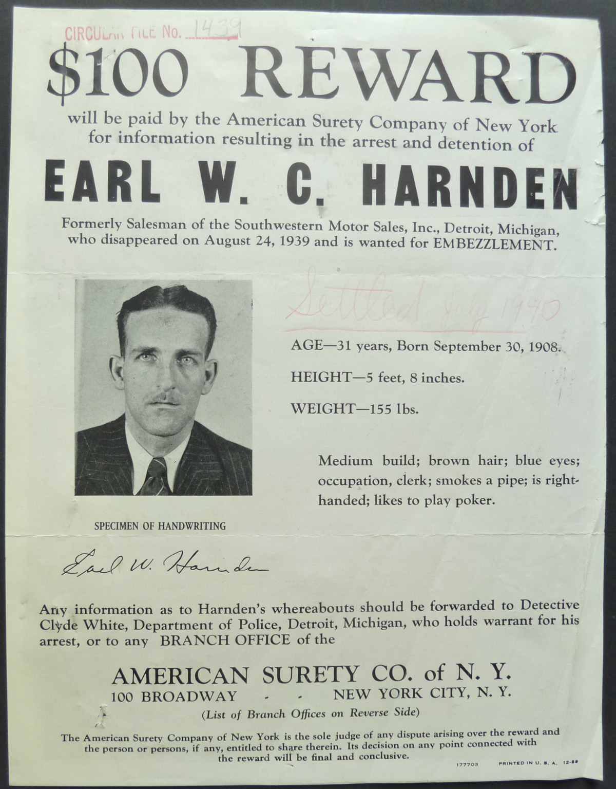 Image for Original Wanted Notice - 1940 Embezzlement