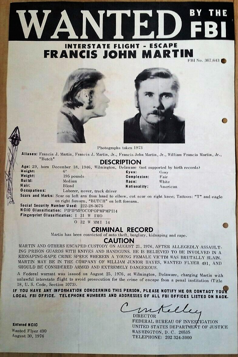 Image for FBI Wanted Poster-original, posted flyer no.490 Francis John Martin