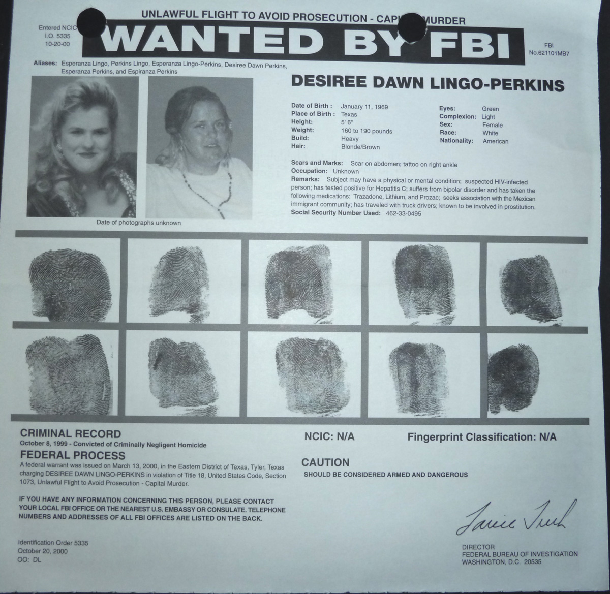 Image for FBI Wanted Poster- Desiree Dawn Lingo-Perkins