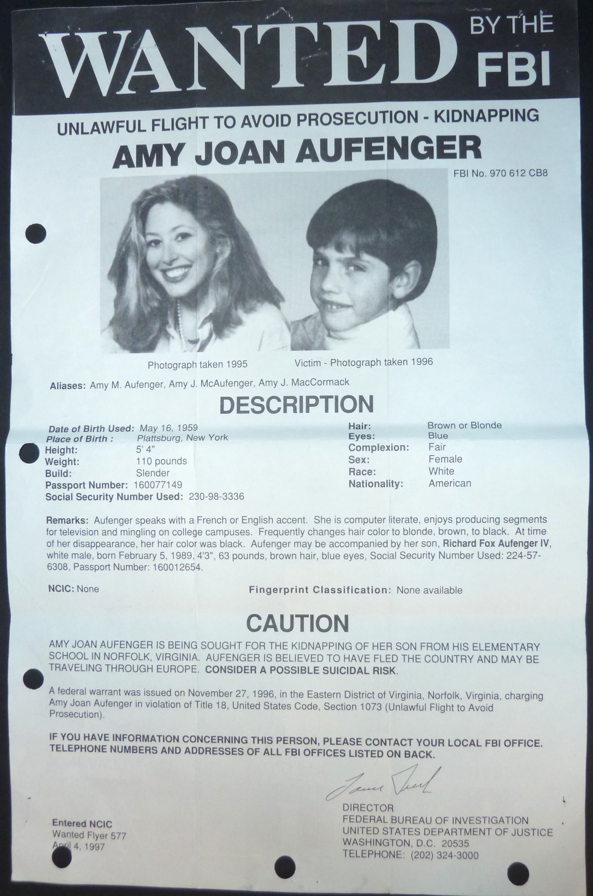 Image for FBI Wanted Poster- Amy Joan Aufenger