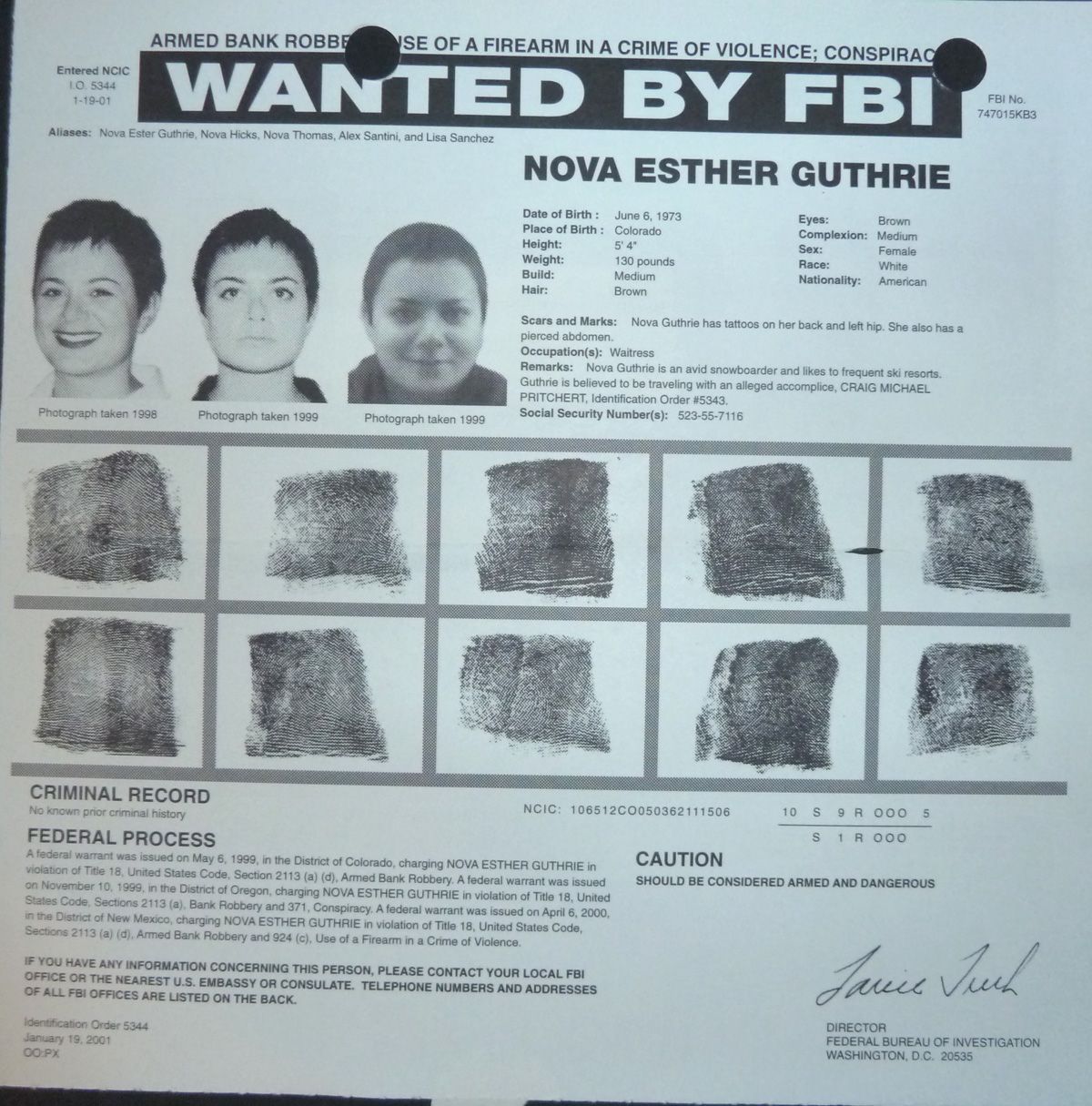 Image for FBI Wanted Poster- Nova Esther Guthrie