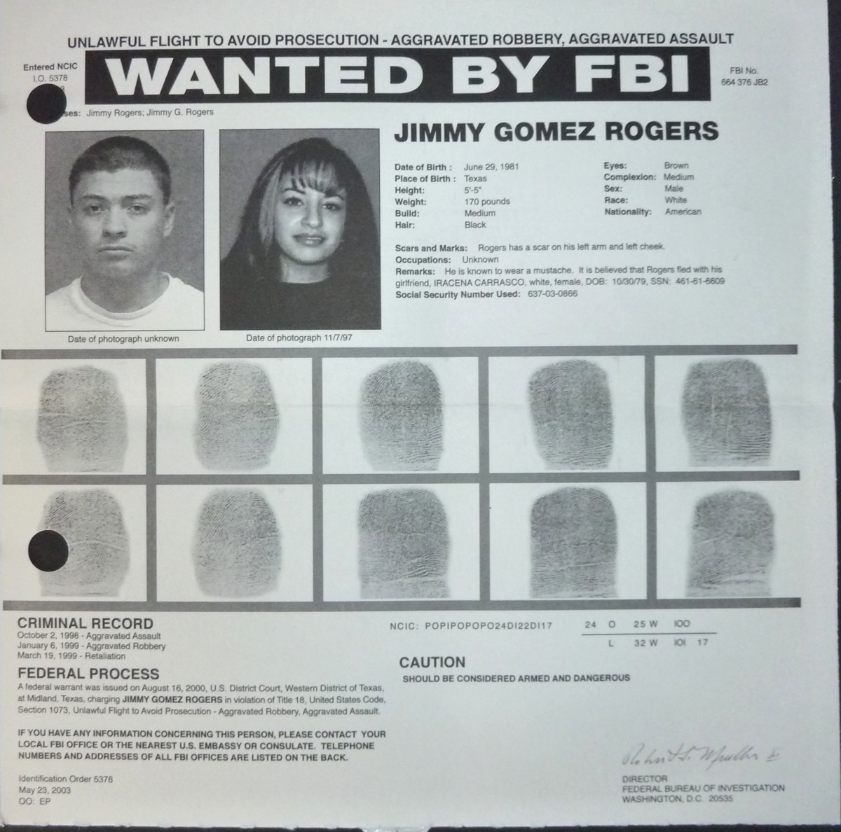 Image for FBI Wanted Poster- Jimmy Gomez Rogers