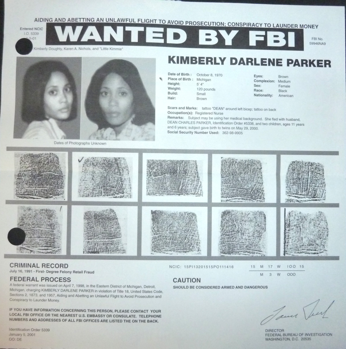 Image for FBI Wanted Poster-' Little Kimmie' Parker