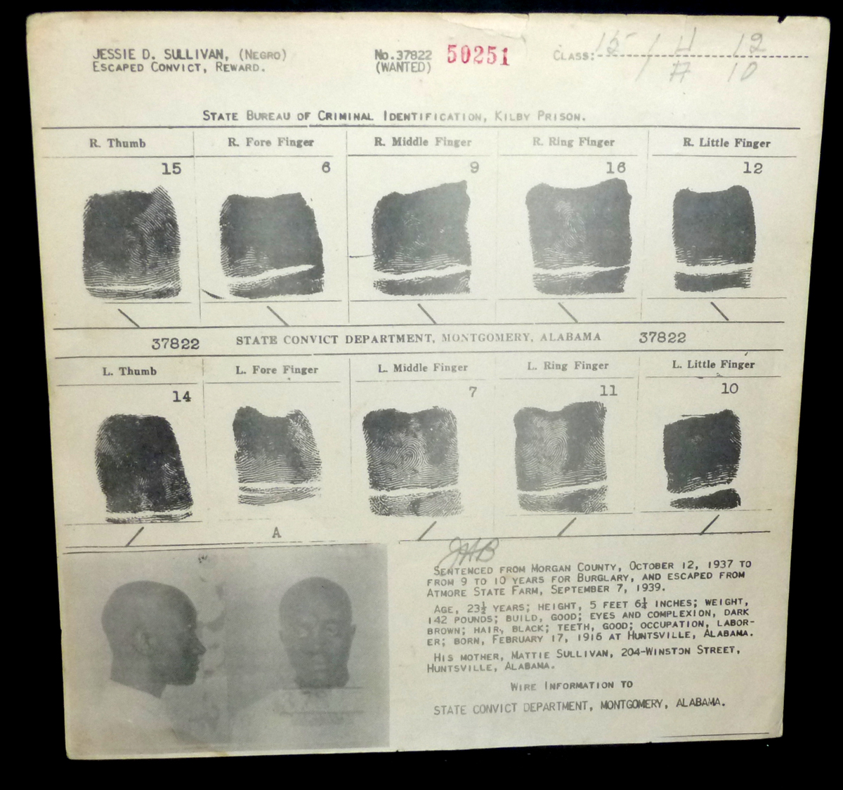 Image for 1939  Wanted Poster Jessie D. Sullivan [Negro] Escaped Convict,  Reward