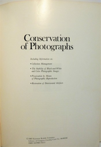 Image for Conservation of Photographs (Kodak Publication)