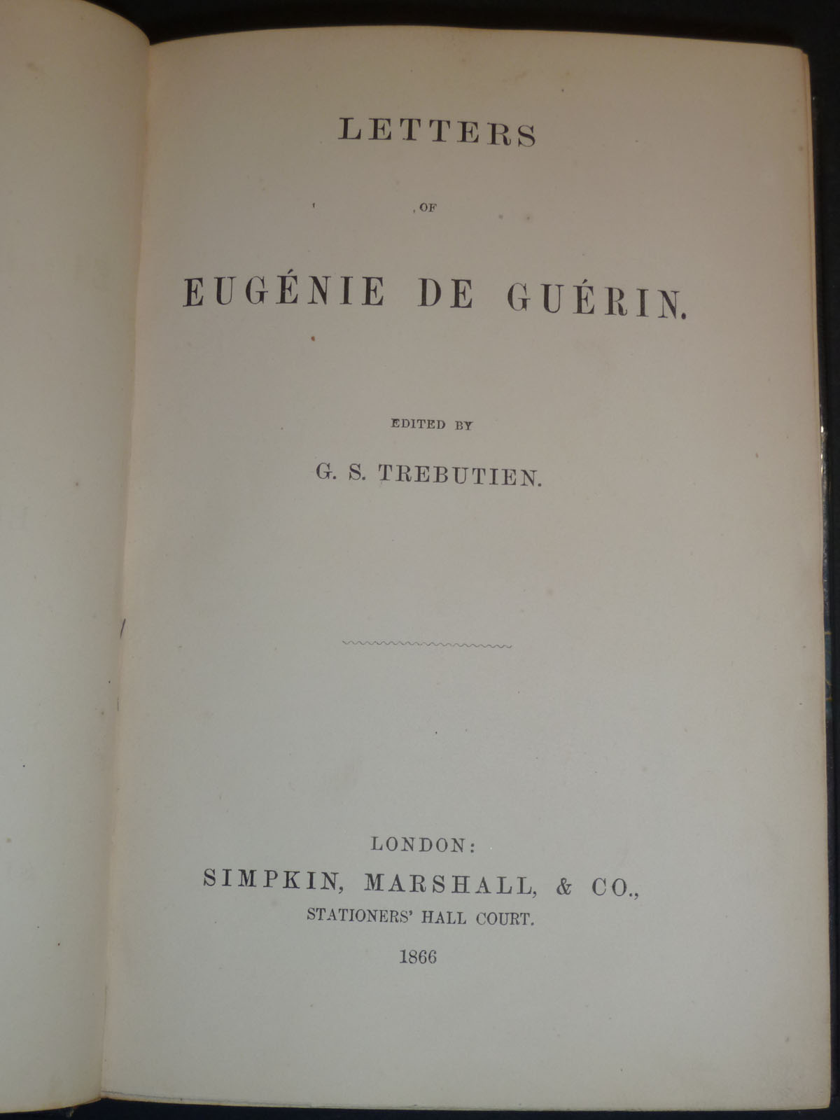 Image for Letters Of Eugenie De Guerin