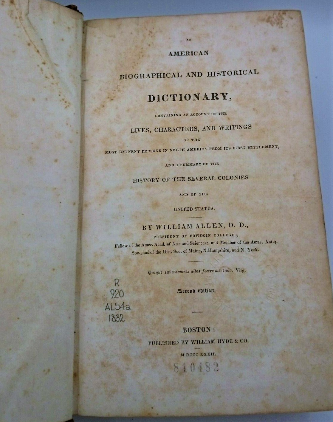 Image for 1832 American Biographical & Historical Dictionary