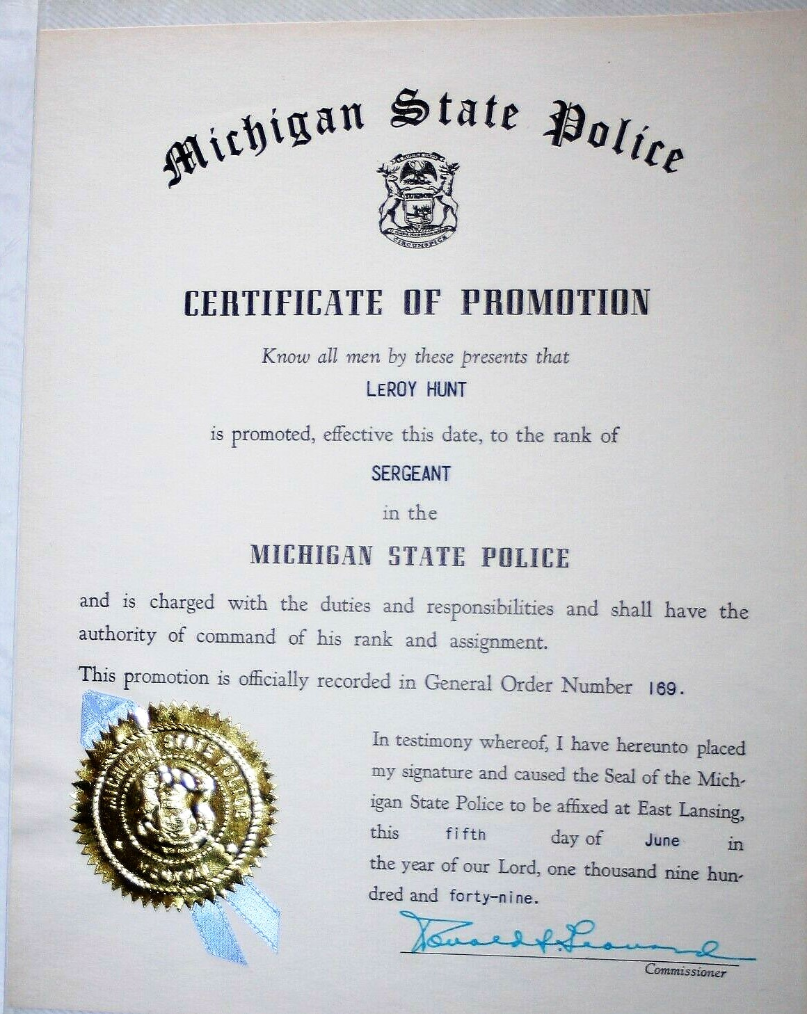Image for 1949-1955 LeRoy Hunt  Michigan State Police