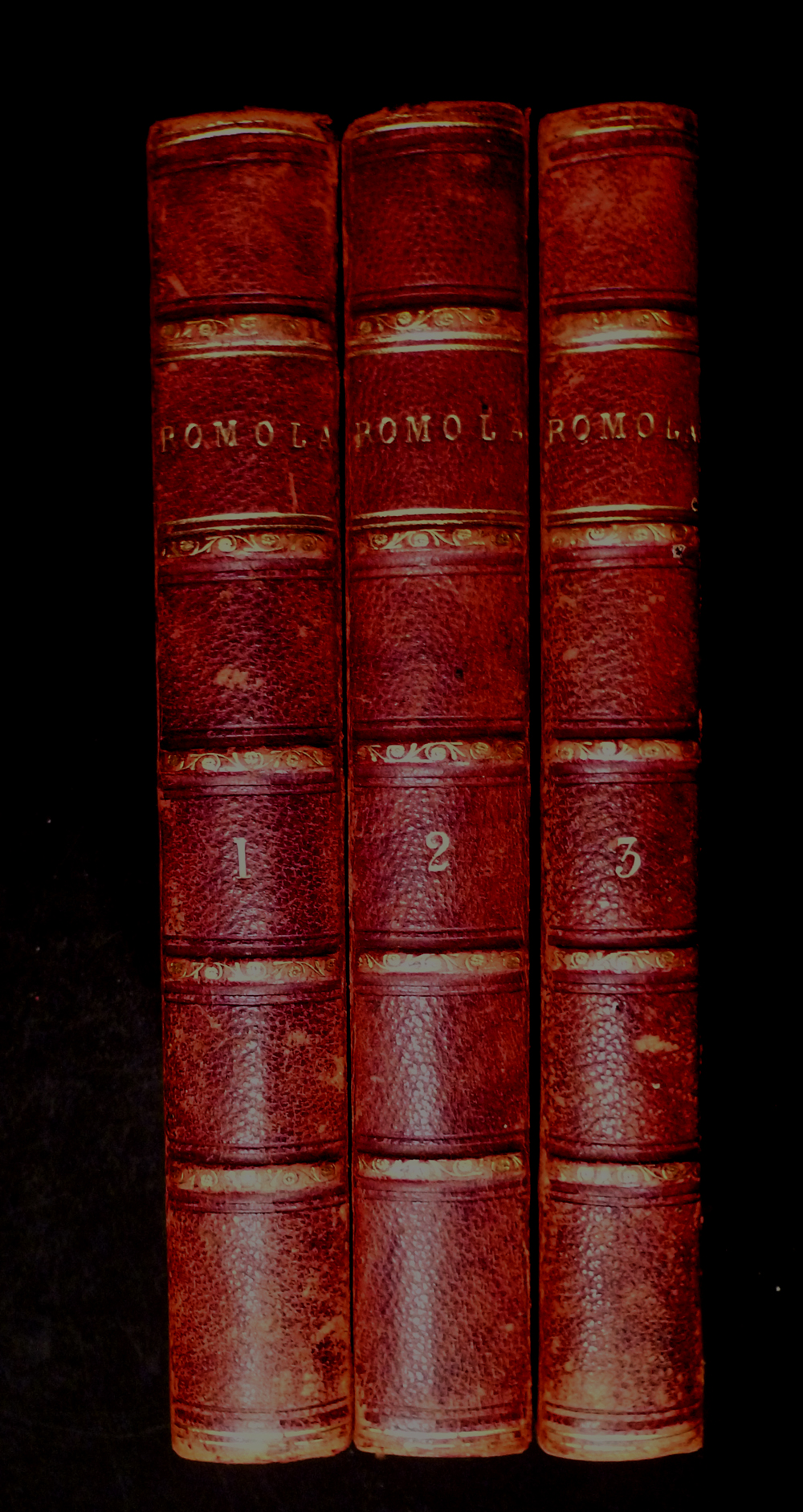 Image for George Eliot - 'Romola' - Three Volumes In Half Leather Binding - 1863