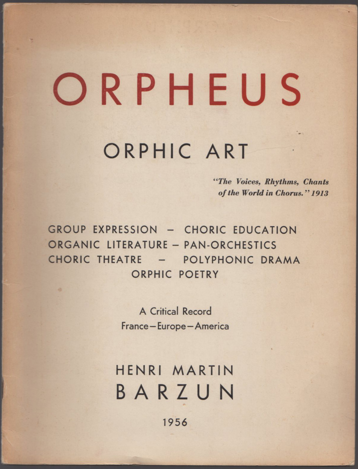 Image for Orpheus - Orphic Art