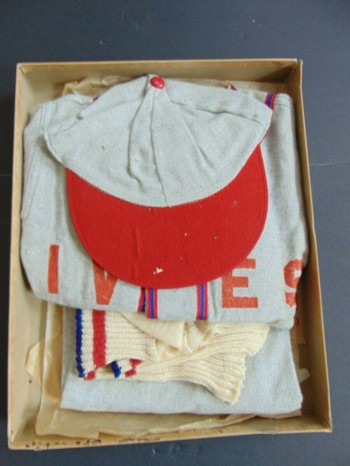 Image for VINTAGE 1940s CHILD'S BASEBALL UNIFORM w HAT & SOCKS in the BOX